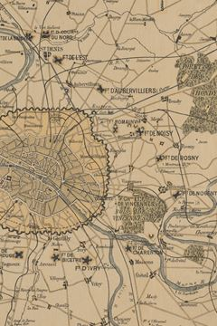 Picture of 1870 plan of Paris and its surroundings, showing all fortifications